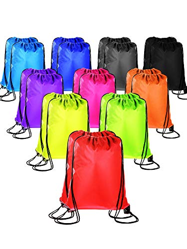 (20 Pieces Drawstring Backpack Sport Bags Cinch Tote Bags for Traveling and Storage (10 Colors B, Size 1))