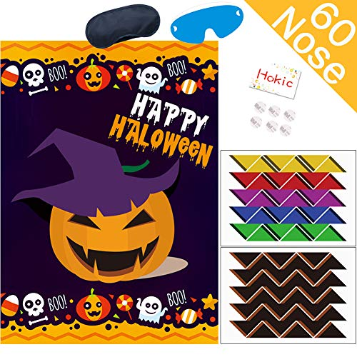 Halloween Posters For Kids (Hokic Pin The Nose On The Pumpkin Game for Halloween Decorations Kids Birthday Pumpkin Party Supplies Large Halloween Game Pumpkin Poster 60 Nose)