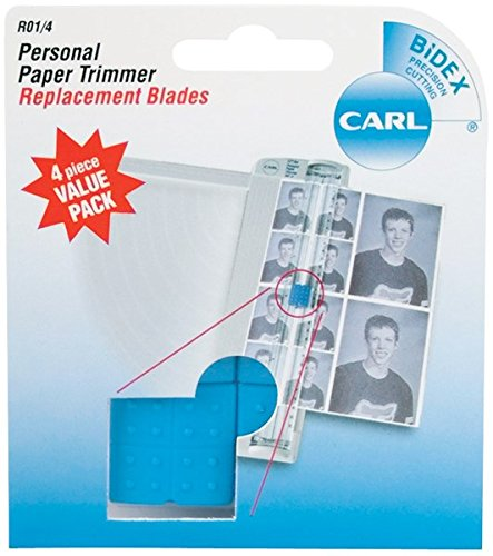 CARL BRANDS Carl Personal Paper Trimmer Replacement Blades 4/Pkg-Straight; For Rbt12 & (Personal Paper Trimmer)