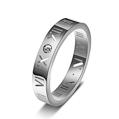 9b4c0ab70 Amazon.com: TEMEGO Stainless Steel CZ Roman Numeral Ring Women Girls, 14k  Gold Stackable Wedding Band, Size 5-10: Jewelry