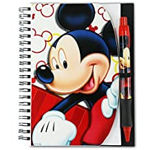 """Disney Mickey Mouse (5""""x7"""" Spiral Notebook) Deluxe Autograph Book with Ball Point Pens"""