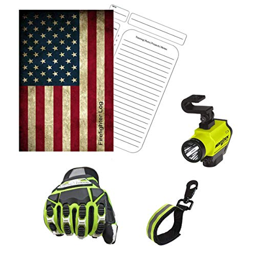 Tactical Flashlight Tools Firefighter Bundle - 1 - Tactical Light Helmet Mounted | 1 - Cut Resistant Extrication Gloves (Large) | 1 - Glove Strap (lime Green) | 1 - Firefighter Log Book (Track trainin
