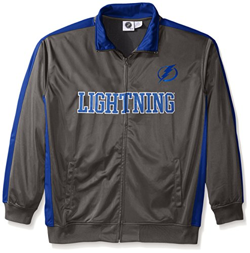 NHL Tampa Bay Lightning Men's Tricot Track Jacket, 3X, Charcoal