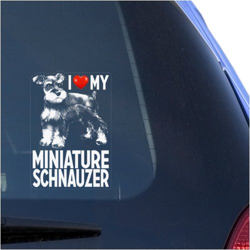 I Love My Miniature Schnauzer Clear Vinyl Decal Sticker for Window Zwergschnauzer Dwarf Dog Sign Art Print