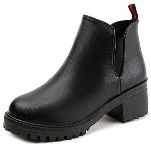 Idifu Womens Fashion Staplade Mitten Chunky Klackar Släpa Tunga Chelseaboots Korta Fotled Tossor Svart Pu