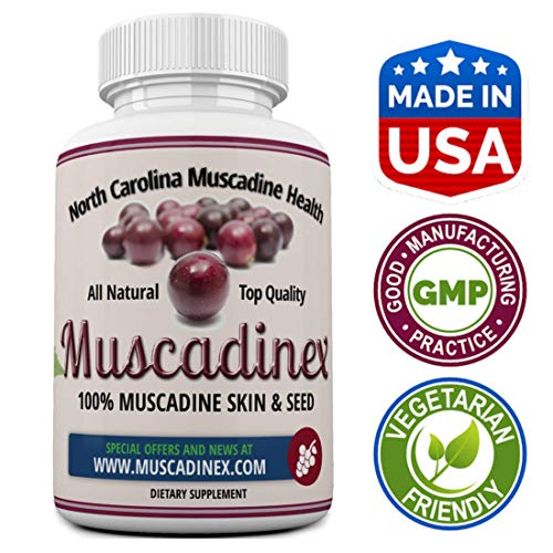 Muscadinex MX1 Grape Resveratrol Longevity Supplement - 60x 650Mg Vegetarian Capsules. The Muscadine is Americas Strongest Grape for Polyphenols. Top Quality, Made in The USA.