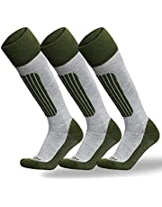 KOZR Ski Socks,3 Pairs Winter Athletic Socks for Skiing,Snowboarding,Over-the-Calf Cushion Sock for Winter Outdoor Sports