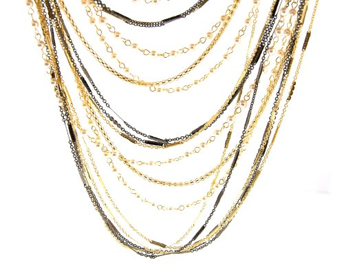 Tone Two Ring Pave Enamel (Two Tone Chain Linked Necklace and Earrings with Faux Pearl - Adjustable from 24'' to 26'' Length)