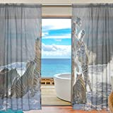 Tiger Pattern Print Window Sheer Curtain Panels, Christmas Decoration, Door Window Gauze Curtains Living Room Bedroom Kid Office Window Curtain 55x84 inch Two Panels Set