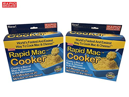 Rapid Mac Cooker - Microwave Boxed Macaroni and Cheese in 5 Minutes - BPA Free and Dishwasher (Two Blue)
