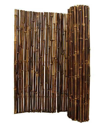 Natural Black Rolled Bamboo Fencing 1