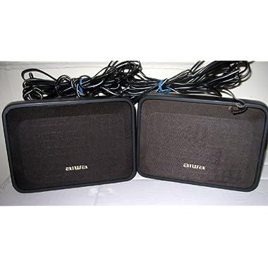 Aiwa Black Net SX R210 Surround Speaker System 2 Bookshelf Speakers