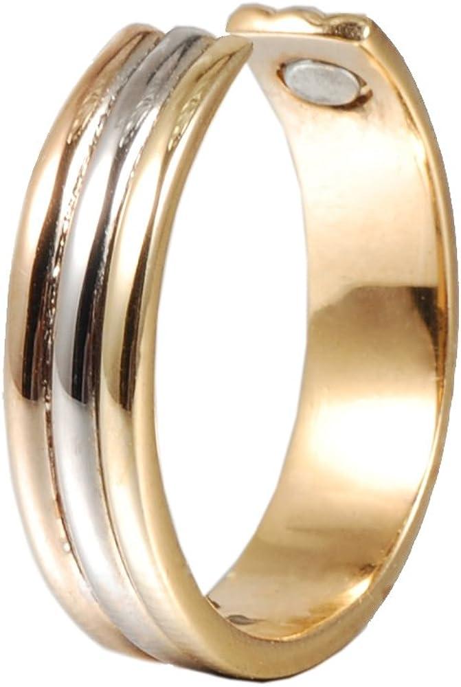 Anillo magnético de cobre para hombres o mujeres con 2 imanes fuertes tritonos ajustables