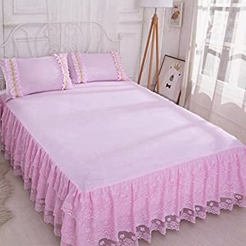 Women Lace Pink Bed skirt Queen King Full Size Double Bedspread Coverlet New