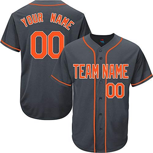 (Charcoal Custom Baseball Jersey for Women Button Down Embroidered Team Name & Numbers,Orange-White Size S)