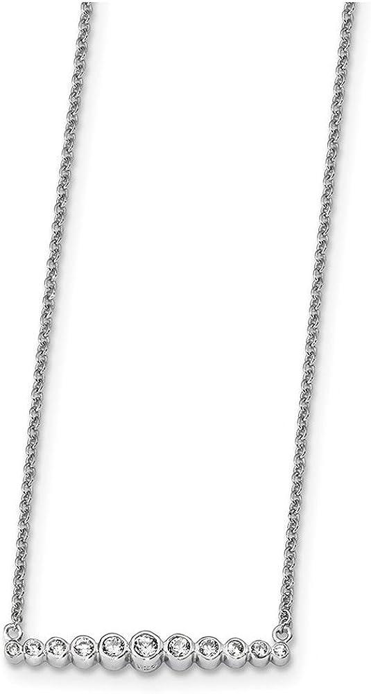 Lex /& Lu Sterling Silver w//Rhodium CZ 18 Necklace LAL112471