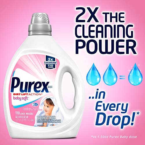 51fwGy2Pz8L. AC - Purex Liquid Laundry Detergent, Baby Soft, Hypoallergenic, 2X Concentrated, 2 Pack, 220 Total Loads