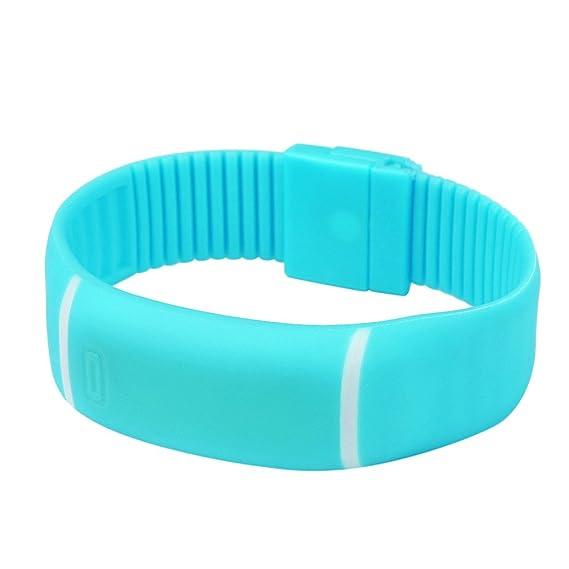Montre-Bracelet en Caoutchouc pour Femme LEEDY (Bleu Ciel): Amazon.fr: Montres