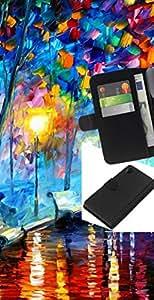 JackGot ( Colorful City Park ) Sony Xperia Z2 D6502 la tarjeta de Crédito Slots PU Funda de cuero Monedero caso cubierta de piel
