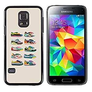 iKiki Tech / Estuche rígido - Sneakers Shoes Trainers Collection Beige - Samsung Galaxy S5 Mini, SM-G800, NOT S5 REGULAR!