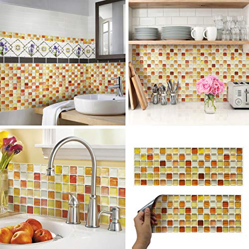 BEAUSTILE Decorative Tile Stickers Peel Stick Backsplash Fire Retardant Tile Sheet (Crack Orange) (1, 5.28