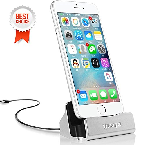 Lazaga Charging Dock and Magnetic USB Charger & Sync Cable, iPhone Faster Charging Dock, Charge and Sync Stand for iPhone 7/7Plus iPhone 6/6Plus/6s iPhone 5/5Plus/5s ipad (Silver)