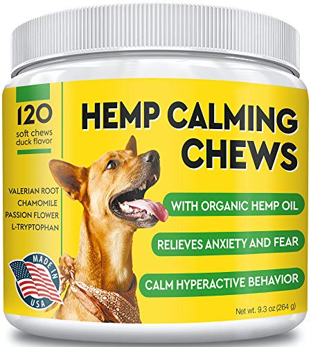 Pawfectchow Hemp Calming Treats for Dogs - Made in USA - Hemp Oil - Dog Anxiety Relief - Aids Stress Barking Separation Fireworks & Thunder - Aggressive Behavior - 120 Soft Chews