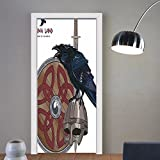 Gzhihine custom made 3d door stickers Viking Raven on Steel Helmet Nordic Sword Shield Warfare Scandinavian Army Medieval Armour Decor Dark Blue Grey Caramel For Room Decor 30x79