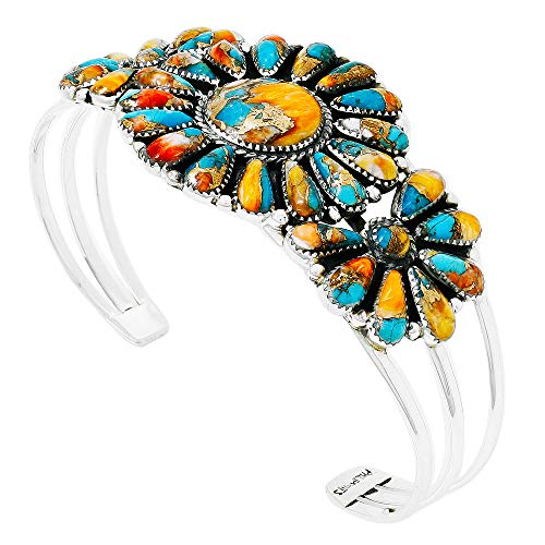 Southwest Style Genuine Turquoise 925 Sterling Silver Cluster Bracelet (Spiny Turquoise)