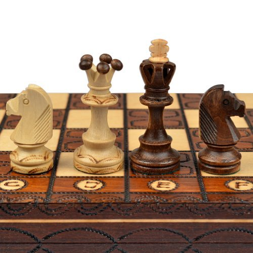 Wegiel Handmade Junior European International Chess Set - 16 Inch Folding Wooden Board & Pieces (Glass Pieces For Sale Chess)