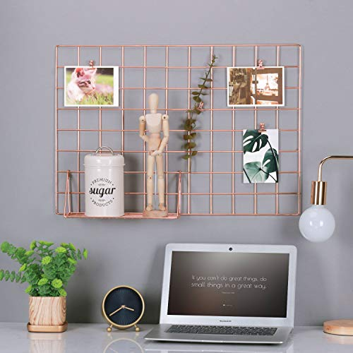 Kufox Multifunction Electroplated Bling Metal Mesh Grid Panel,Wall Decor/Photo Wall/Wall Art Display and Organizer, Pack of 1 Pcs,Size:25.6 x 17.7,Rose Gold Color