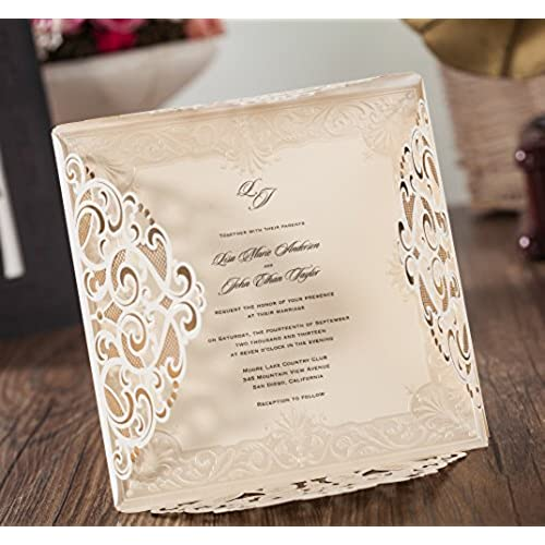 Wedding invitation cards with rsvp cards amazon wishmade 100x laser cut lace invitations cards kit with matched thank you card and rsvp card for wedding party birthday occasion cw6109 stopboris Image collections