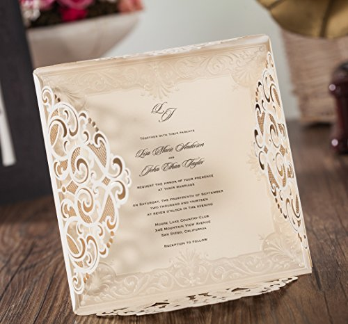 Wishmade 100x Laser Cut Lace Invitations Cards Kit With Matched Thank You Card and RSVP Card For Wedding Party Birthday Occasion CW6109 by Wishmade