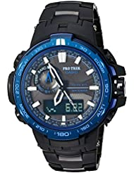 Casio Mens Pro Trek Quartz Stainless Steel and Titanium Sport Watch, Color:Black (Model: PRW-6000SYT-1CR)