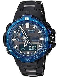 Men's 'Pro Trek' Quartz Stainless Steel and Titanium Sport Watch, Color:Black (Model: PRW-6000SYT-1CR)