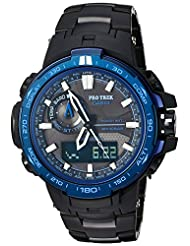 Casio ProTrek Atomic Solar Triple Sensor Black Blue Stainless Steel Watch PRW6000SYT-1