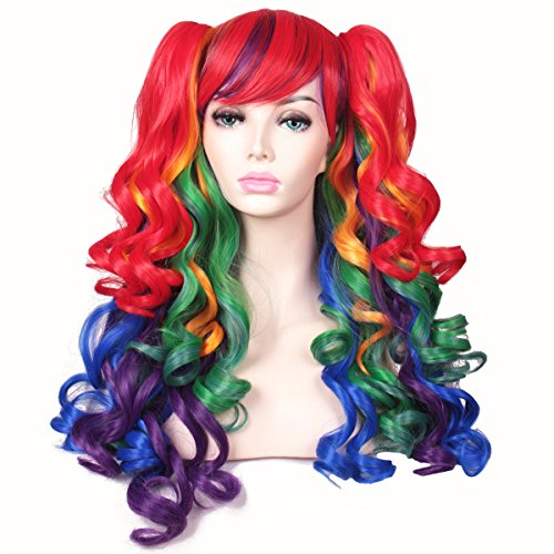 (ColorGround Long Curly Cosplay Wig with 2 Ponytails(Rainbow Color))