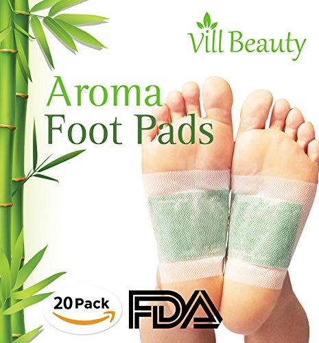 FDA CERTIFIED Upgraded 2 In 1 Foot Pads, Best Nature Foot Pads, Rapid Foot Care and Pain Relief, Higher Efficiency Than Foot Cushions, Sleeve Metatarsal Pads - Best Foot pads for 2018, 20 Packs Bamboo Vinegar Foot Patch