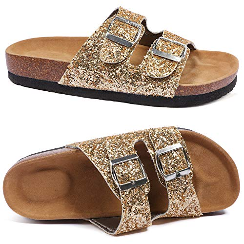 2 Strap Thong - Aiminila Girl's Glitter Thong Slip On Casual Open Toe Buckle 2 Strap Slide Sandals, Gold Glitter, 4 Big Kid