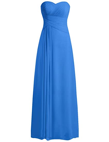 HUINI Strapless Long Chiffon Bridesmaid Prom Dresses Wedding Evening Party Gowns Ocean Blue UK28