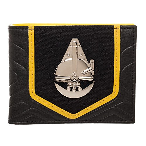 Star Wars Solo Black and Gold BiFold Wallet, PU with Shiny Millenium Falcon, - Wallet Millennium Leather Card
