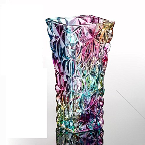 - vasehome Crystal flower vase/cut glass/colorful transparent/european/simple modern/for water planting/or mantelpiece-30cm-B 30cm(12inch)