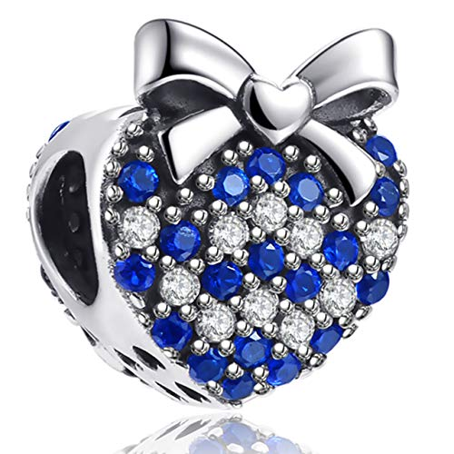 Angemiel 925 Sterling Silver Heart Bow Bead Charms Pendant for Snake Chain Bracelets Necklace, Lucky Charms Inlaid with 5A Cubic Zirconias ()