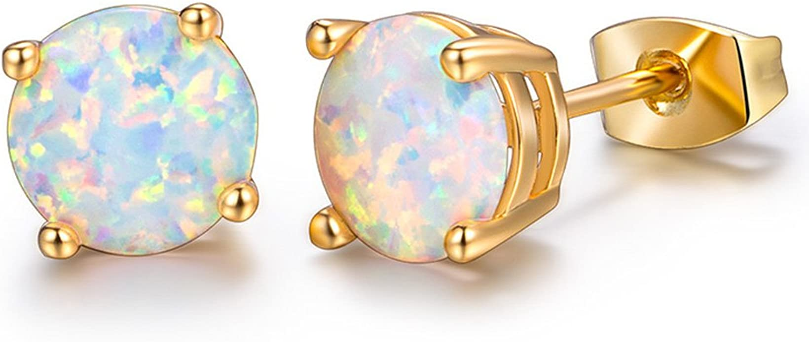 Opal 6mm /& Diamond Round Stud Earrings White Gold Silver