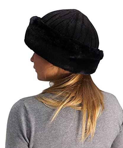 Peach Couture Unisex Double Layered Cable Knit Faux Fur Warm Windproof Cossack Hat (Black)