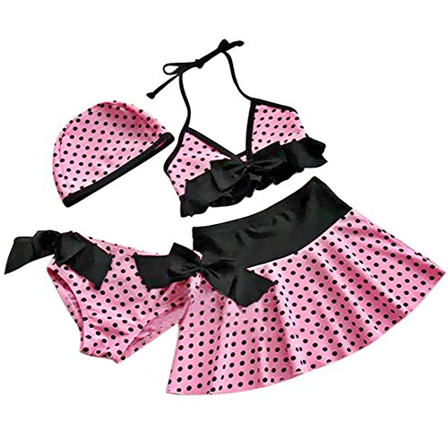 iixpin Little Girl Swimwear Pink Polka Dots Swimsuits Tanikni Bikini Set 4 Piece Pink (3 Piece Polka Dots Bikini)