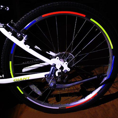 Bicicleta de montaña bicicleta ciclismo carretera HUAYANG llantas pegatinas reflectantes de luz (Paquete con 1: rojo): Amazon.es: Deportes y aire libre