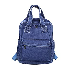 Girls Vintage Denim Backpack Jeans Daypack Bag Travel Bag Rucksack