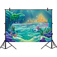 Allenjoy 7x5ft photography Under The Sea Little Mermaid Backdrop ocean Nautical Birthday party banner photo studio booth background newborn baby shower photocall
