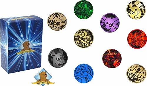 10 Random Pokemon Collectible TCG Coins! Comes in Golden Groundhog Box!